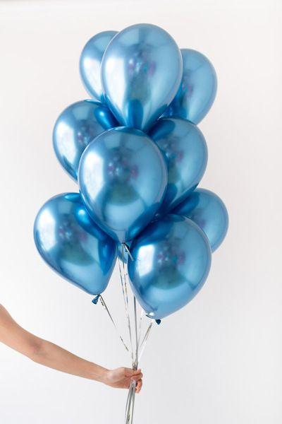 Сет из воздушных шаров синий хром фото