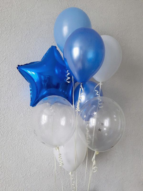 Набор воздушных шаров синие голубые белые