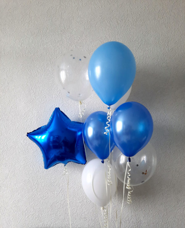 Воздушные шары синие голубые фольгтрованные