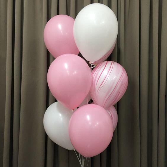 ВОздушные шары розовые пастель фотнан