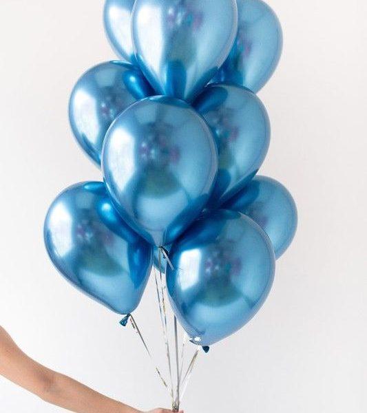синие шары металлик с гелием фотография сета