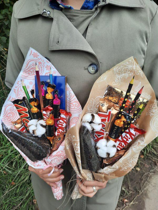 букет из шоколада и конфет на 1 сентября день учителя